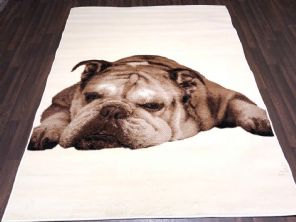 Modern 7x5ft 150x210cm Woven Backed Bulldog Dogs Rugs Top Quality Cream/Beige